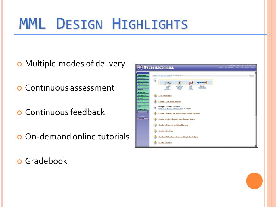 MML D ESIGN H IGHLIGHTS Multiple modes of delivery Continuous assessment Continuous feedback On-demand online tutorials Gradebook