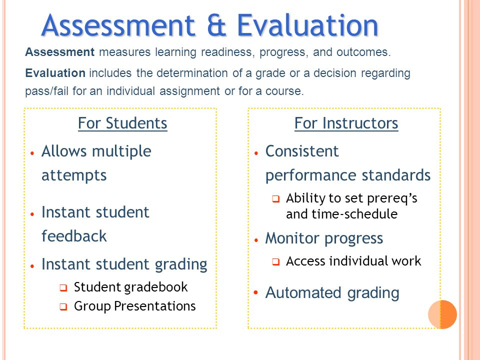 For Students Allows multiple attempts Instant student feedback Instant student grading  Student gradebook  Group Presentations Assessment & Evaluati