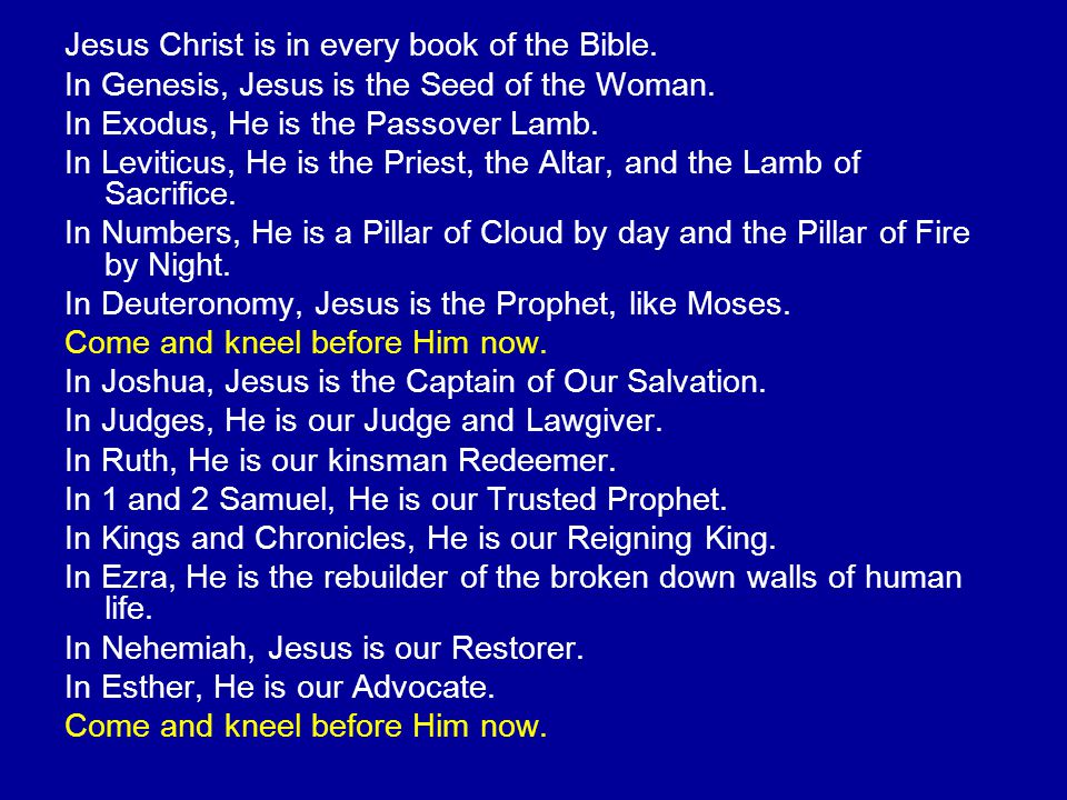 Jesus Christ is in every book of the Bible. In Genesis, Jesus is the Seed of the Woman. In Exodus, He is the Passover Lamb. In Leviticus, He is the Pr