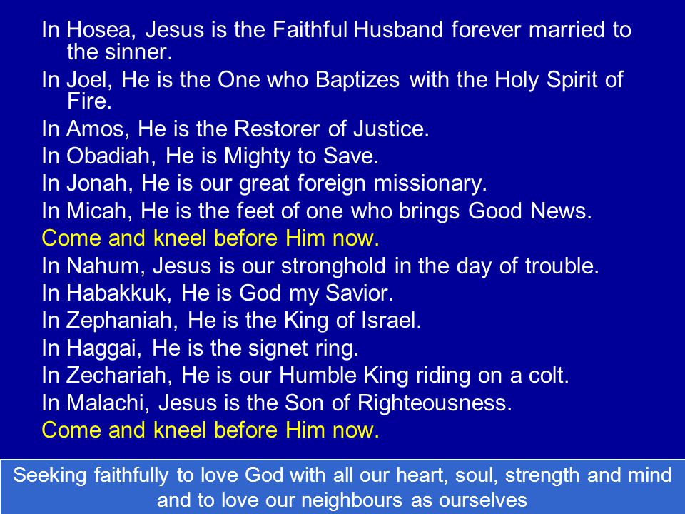 In Hosea, Jesus is the Faithful Husband forever married to the sinner. In Joel, He is the One who Baptizes with the Holy Spirit of Fire. In Amos, He i