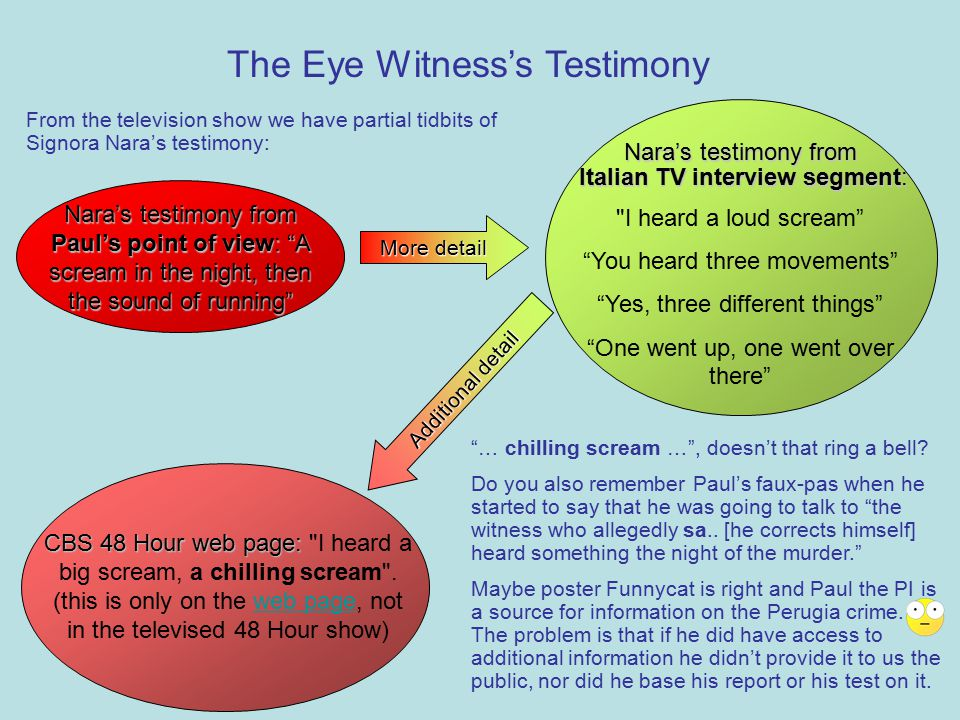 The Eye Witness's Testimony Nara's testimony from Paul's point of view: A scream in the night, then the sound of running Nara's testimony from Italian TV interview segment: Italian TV interview segment: I heard a loud scream You heard three movements Yes, three different things One went up, one went over there More detail Additional detail CBS 48 Hour web page: CBS 48 Hour web page: I heard a big scream, a chilling scream .