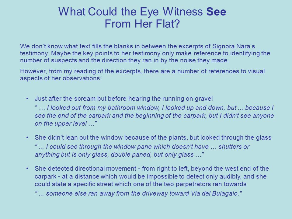 What Could the Eye Witness See From Her Flat.