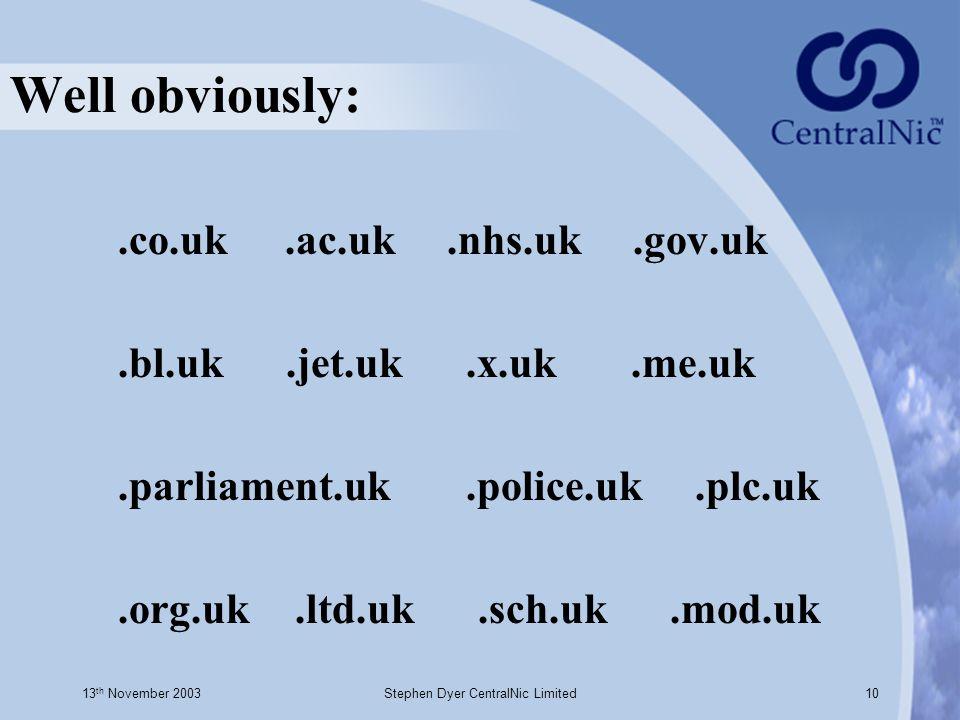 13 th November 2003Stephen Dyer CentralNic Limited10 Well obviously:.co.uk.ac.uk.nhs.uk.gov.uk.bl.uk.jet.uk.x.uk.me.uk.parliament.uk.police.uk.plc.uk.