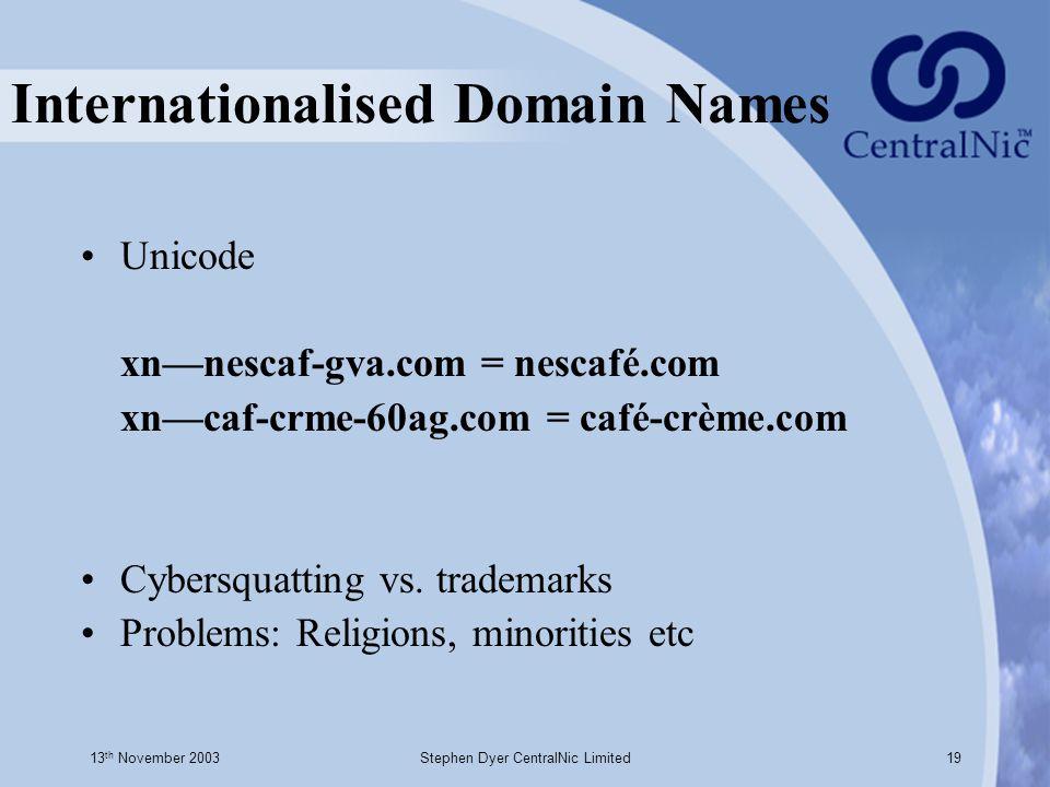 13 th November 2003Stephen Dyer CentralNic Limited19 Internationalised Domain Names Unicode xn—nescaf-gva.com = nescafé.com xn—caf-crme-60ag.com = caf