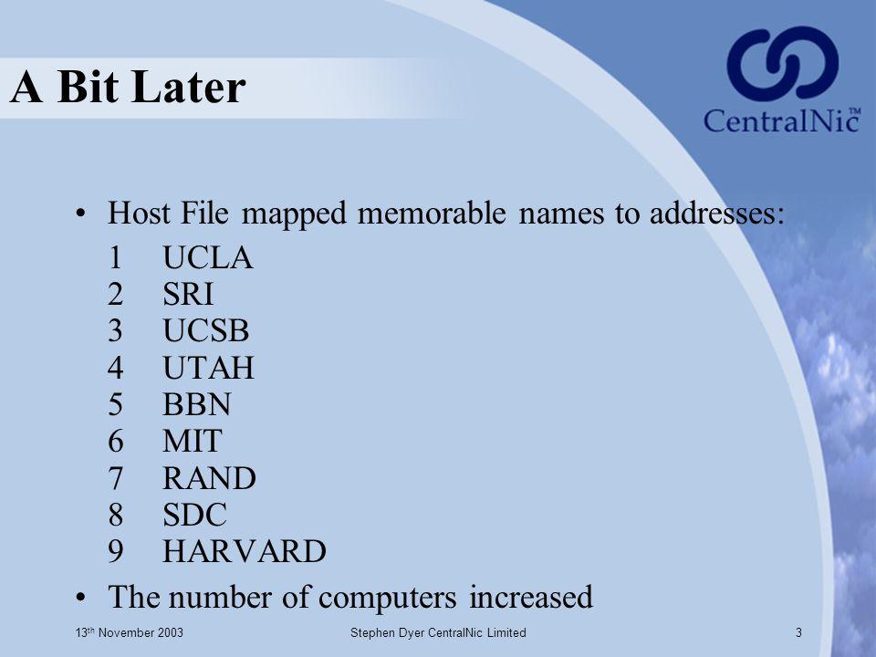 13 th November 2003Stephen Dyer CentralNic Limited3 A Bit Later Host File mapped memorable names to addresses: 1 UCLA 2 SRI 3 UCSB 4 UTAH 5 BBN 6 MIT