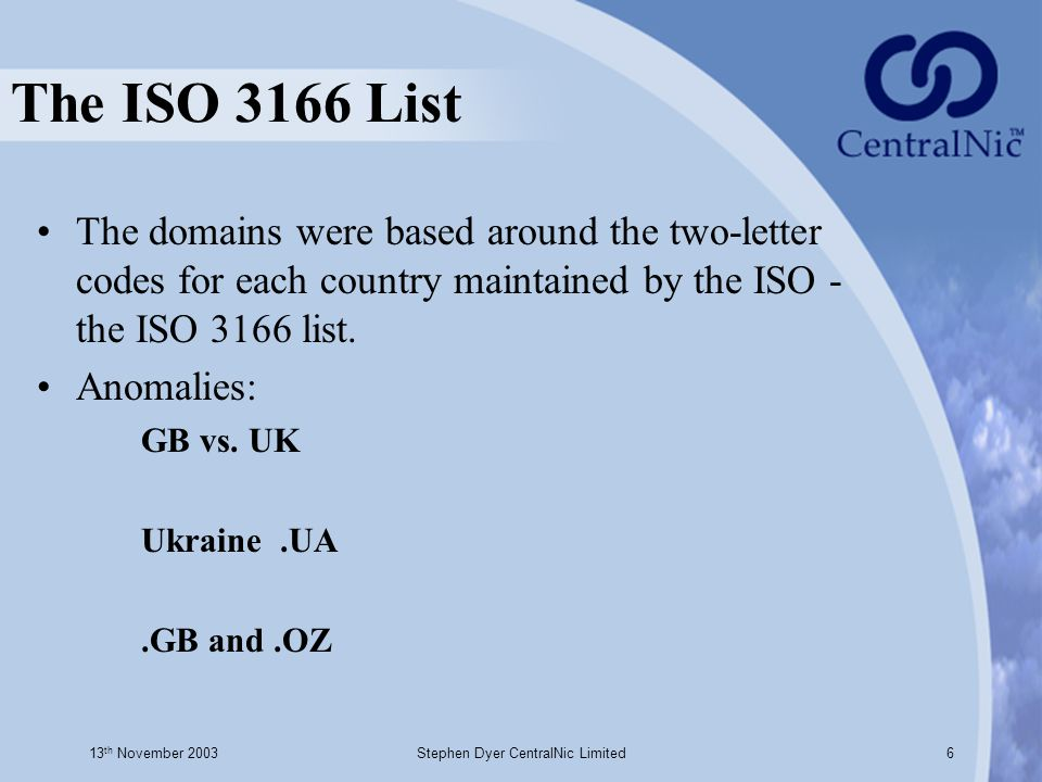 13 th November 2003Stephen Dyer CentralNic Limited6 The ISO 3166 List The domains were based around the two-letter codes for each country maintained b