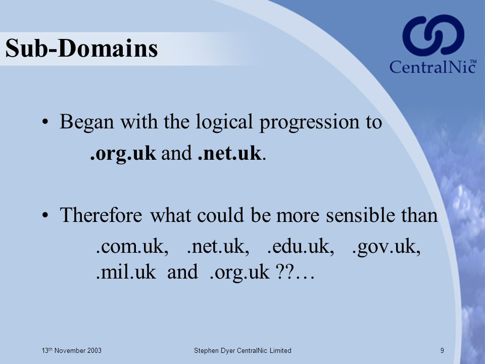 13 th November 2003Stephen Dyer CentralNic Limited9 Sub-Domains Began with the logical progression to.org.uk and.net.uk.