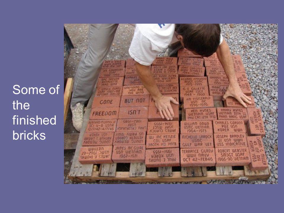 The bricks being sandblasted