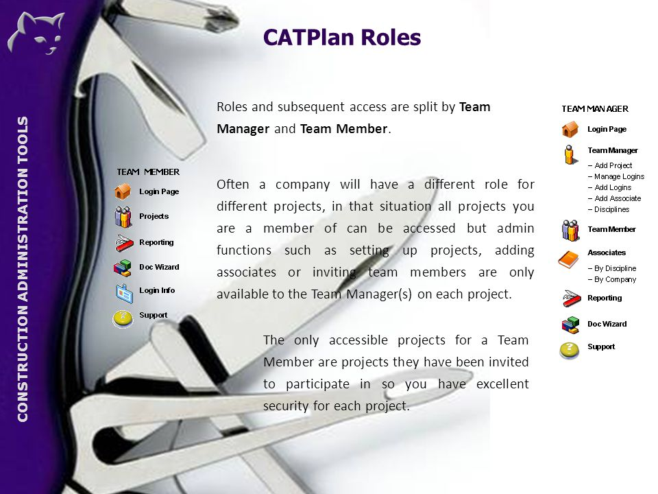 CONSTRUCTION ADMINISTRATION TOOLS CATPlan Roles CAT Roles and subsequent access are split by Team Manager and Team Member.