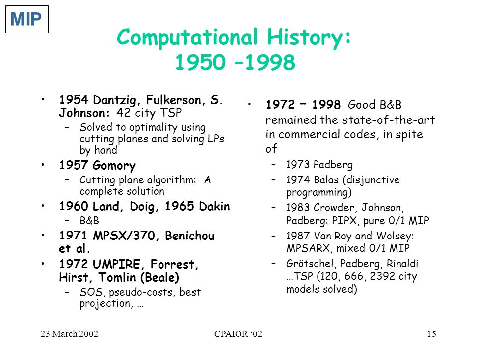 23 March 2002CPAIOR '0215 Computational History: 1950 –1998 1954 Dantzig, Fulkerson, S. Johnson: 42 city TSP –Solved to optimality using cutting plane