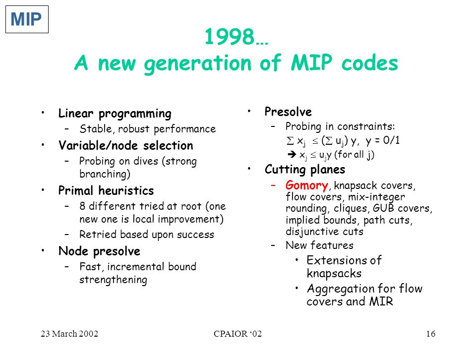 23 March 2002CPAIOR '0216 1998… A new generation of MIP codes Linear programming –Stable, robust performance Variable/node selection –Probing on dives (strong branching) Primal heuristics –8 different tried at root (one new one is local improvement) –Retried based upon success Node presolve –Fast, incremental bound strengthening Presolve –Probing in constraints:  x j  (  u j ) y, y = 0/1  x j  u j y (for all j) Cutting planes –Gomory, knapsack covers, flow covers, mix-integer rounding, cliques, GUB covers, implied bounds, path cuts, disjunctive cuts –New features Extensions of knapsacks Aggregation for flow covers and MIR MIP