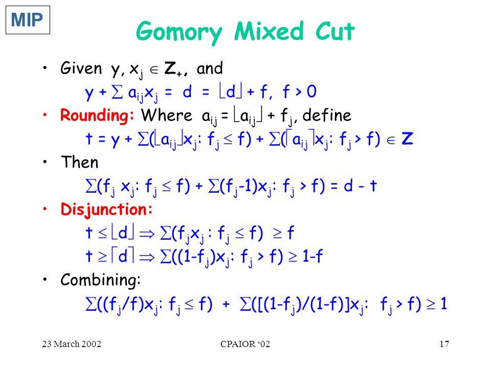 23 March 2002CPAIOR '0217 Gomory Mixed Cut Given y, x j  Z +, and y +  a ij x j = d =  d  + f, f > 0 Rounding: Where a ij =  a ij  + f j, define
