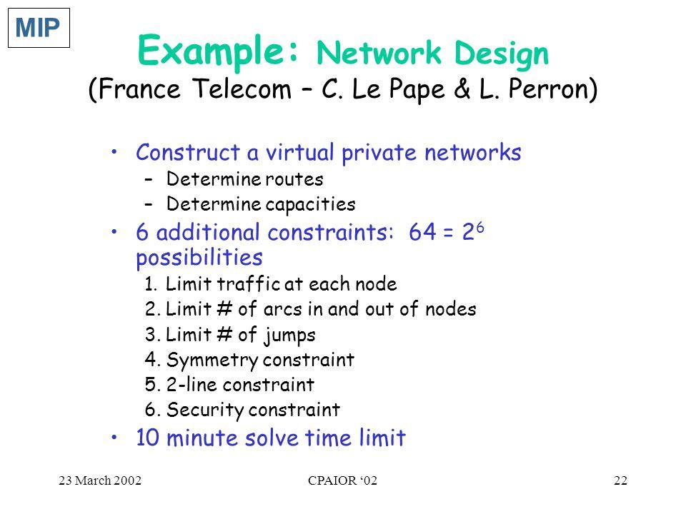 23 March 2002CPAIOR '0222 Example: Network Design (France Telecom – C. Le Pape & L. Perron) Construct a virtual private networks –Determine routes –De