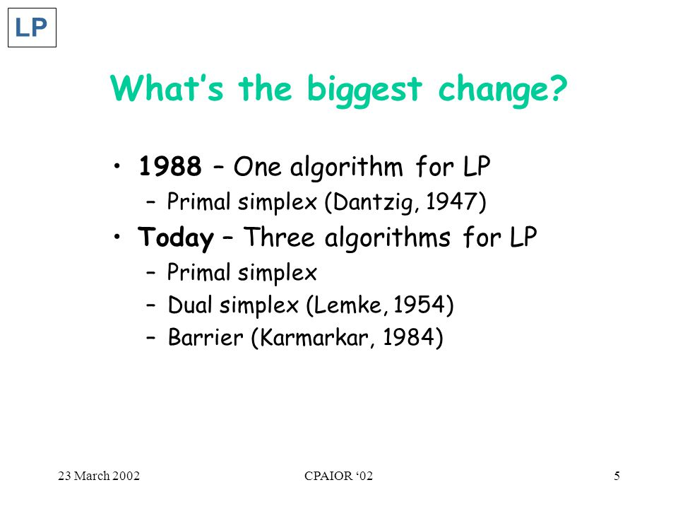 23 March 2002CPAIOR '025 What's the biggest change.