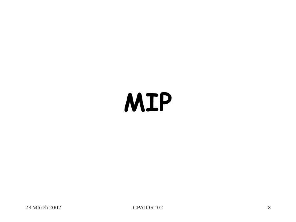 23 March 2002CPAIOR '028 MIP