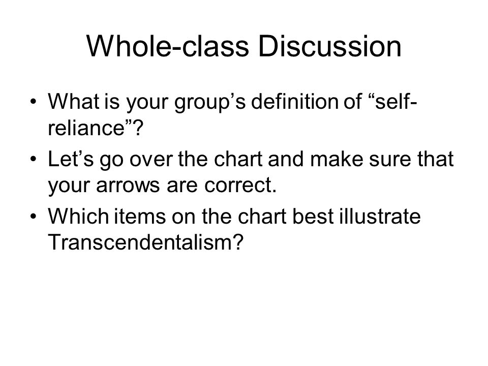Whole-class Discussion What is your group's definition of self- reliance .