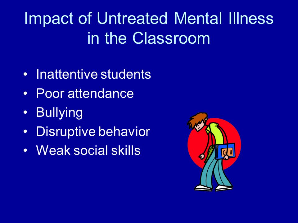 Impact of Untreated Mental Illness in the Classroom Inattentive students Poor attendance Bullying Disruptive behavior Weak social skills
