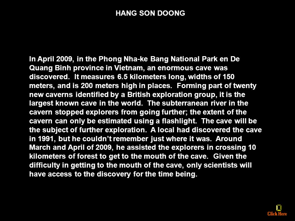 A. GARCIA PRODUCTIONS PRESENTS HANG SON DOONG CAVE THE LARGEST CAVE IN THE WORLD HANG SON DOONG CAVE THE LARGEST CAVE IN THE WORLD