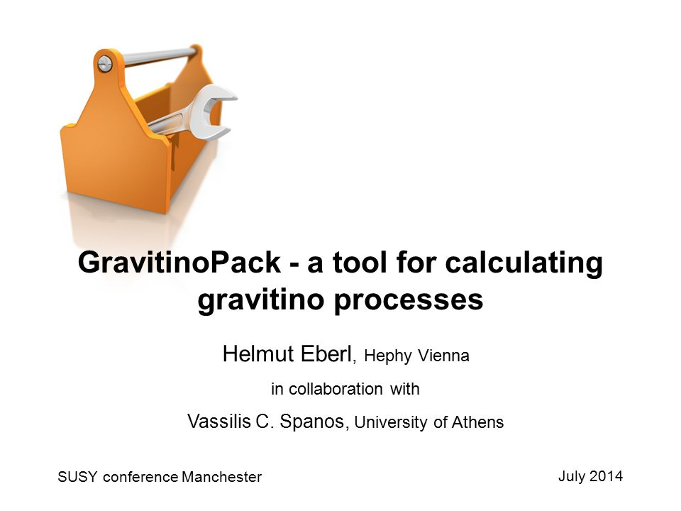 Theorie SUSY 21Helmut EberlJuly 2014 Conclusions  New calculations of decay widths with gravitino presented  Program package GravitinoPack presented, works at Fortran77 level and with MathLink, public available soon, includes  All two-body decays and three-body decays to neu1 + SM pair of Gr  All two- and three-body decays of NLSP neu1, stop1, stau1 to Gr + SM pair  Possible resonances in three-body decays treated automatically by using narrow width approximation – avoids double-counting  Knowledge of complete three-body decay width important below and also above thresholds of possible resonant propagators Outlook  Numerical study of NLSP to Gr LSP  4body decays of stau1 and stop1