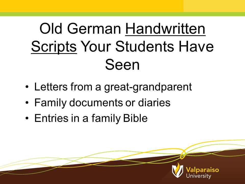 Old German Typescripts Your Students Have Seen Old printed books with a funny font Gothic print in fantasy books or websites Ads for renaissance fairs On souvenir beer steins Wedding invitations