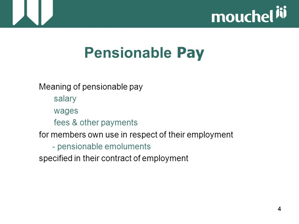 45 Pensionable Pay Workshop 4 Calculate the pensionable pay for the following employee: Leaving Date18.3.2004 Pay Details weekly hoursweekly contractual Date wage worked bonus overtime 19.03.2003 £187.76 37£16.50 5 hours 01.04.2003£194.75 37£21.25 5 hours Hourly rate: 187.76/37 = 5.0746, 194.75/37 = 5.2635 19.03.03 – 31.03.03 = 13/365 x (187.76 + [5 x 5.0746] + 16.50 x 52.14) = 426.44 01.04.03 – 18.03.04 = 352/365 x (194.75 + [5 x 5.2635] + 21.25 x 52.14) = 12,184.44 Pensionable pay = £12,610.88