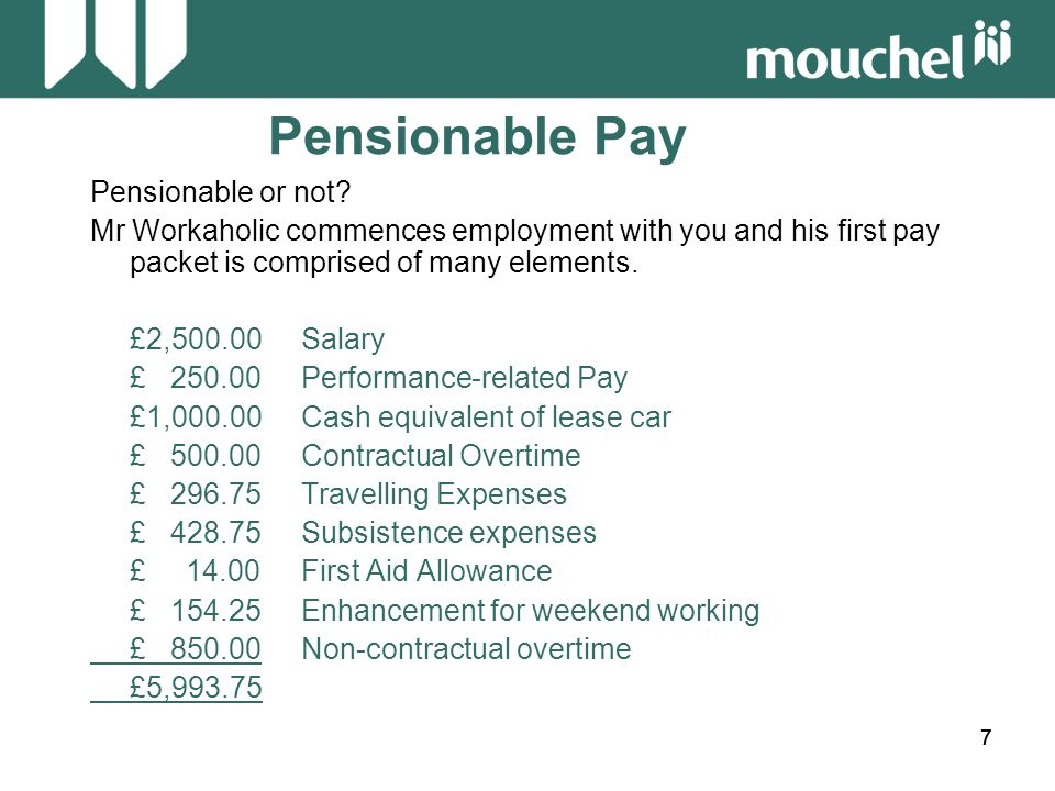 888 Pensionable Pay Pensionable or not.