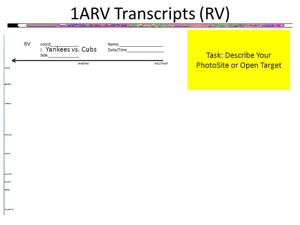 1ARV Transcripts (RV) Task: Describe Your PhotoSite or Open Target Yankees vs. Cubs