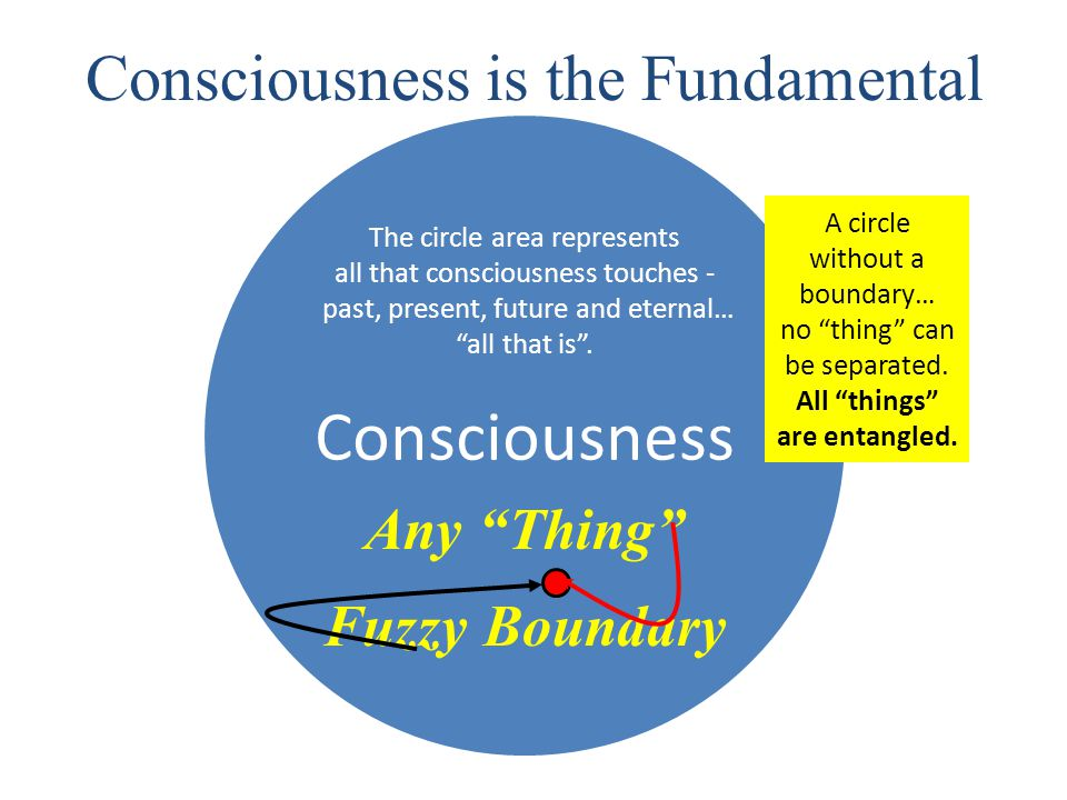 Consciousness Consciousness is the Fundamental The circle area represents all that consciousness touches - past, present, future and eternal… all that is .