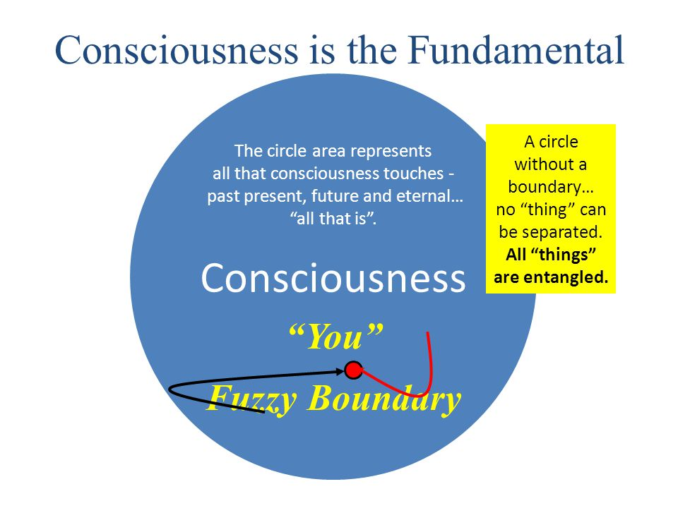 Consciousness Consciousness is the Fundamental The circle area represents all that consciousness touches - past present, future and eternal… all that is .