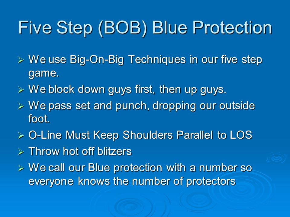 Five Step (BOB) Blue Protection  We use Big-On-Big Techniques in our five step game.