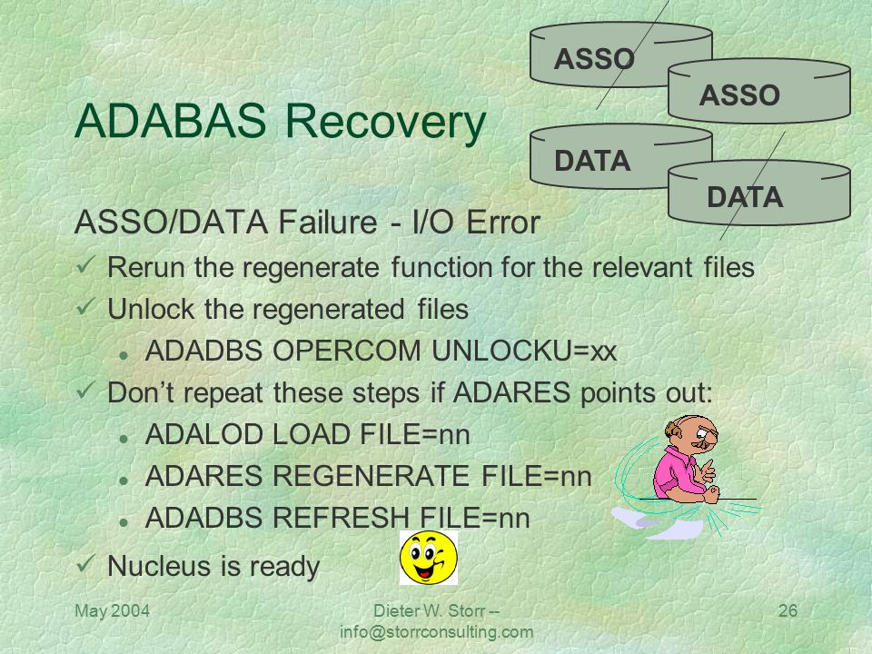 May 2004Dieter W. Storr -- info@storrconsulting.com 26 ADABAS Recovery ASSO/DATA Failure - I/O Error Rerun the regenerate function for the relevant fi