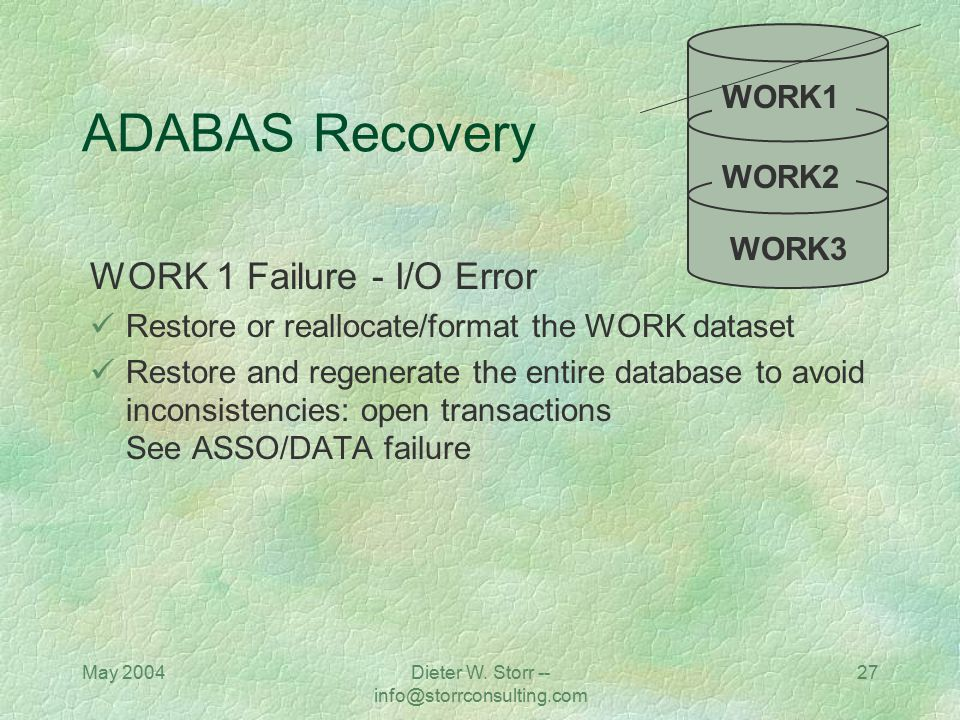 May 2004Dieter W. Storr -- info@storrconsulting.com 27 ADABAS Recovery WORK 1 Failure - I/O Error Restore or reallocate/format the WORK dataset Restor