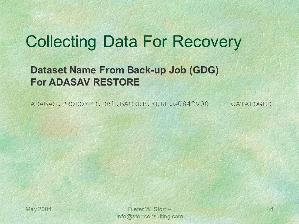 May 2004Dieter W. Storr -- info@storrconsulting.com 44 Collecting Data For Recovery Dataset Name From Back-up Job (GDG) For ADASAV RESTORE ADABAS.PROD