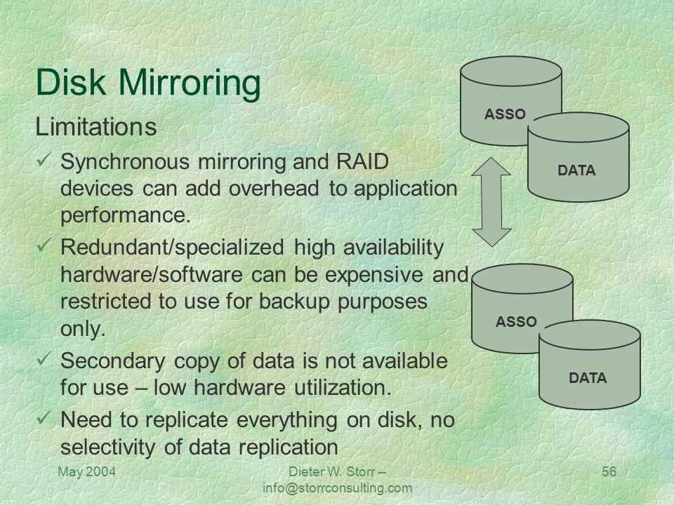 May 2004Dieter W. Storr -- info@storrconsulting.com 56 Disk Mirroring Limitations Synchronous mirroring and RAID devices can add overhead to applicati
