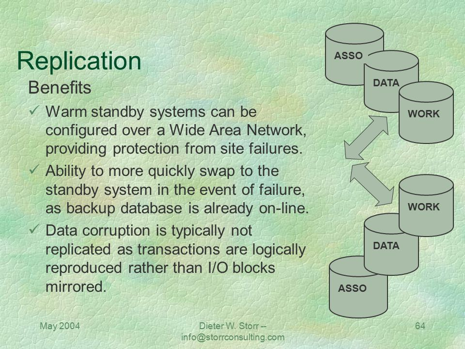 May 2004Dieter W. Storr -- info@storrconsulting.com 64 Replication Benefits Warm standby systems can be configured over a Wide Area Network, providing