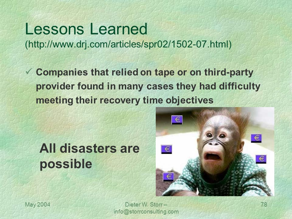 May 2004Dieter W. Storr -- info@storrconsulting.com 78 Lessons Learned (http://www.drj.com/articles/spr02/1502-07.html) Companies that relied on tape