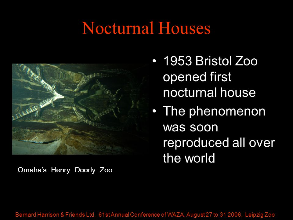 Bernard Harrison & Friends Ltd, 61st Annual Conference of WAZA, August 27 to 31 2006, Leipzig Zoo Nocturnal Houses 1953 Bristol Zoo opened first nocturnal house The phenomenon was soon reproduced all over the world Omaha's Henry Doorly Zoo