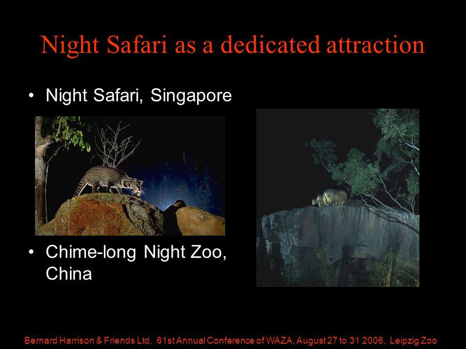 Bernard Harrison & Friends Ltd, 61st Annual Conference of WAZA, August 27 to 31 2006, Leipzig Zoo Night Safari as a dedicated attraction Night Safari, Singapore Chime-long Night Zoo, China