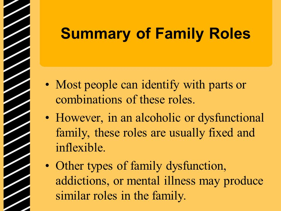 Summary of Family Roles Most people can identify with parts or combinations of these roles.