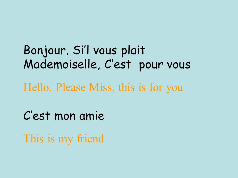 Bonjour. Si'l vous plait Mademoiselle, C'est pour vous Hello.