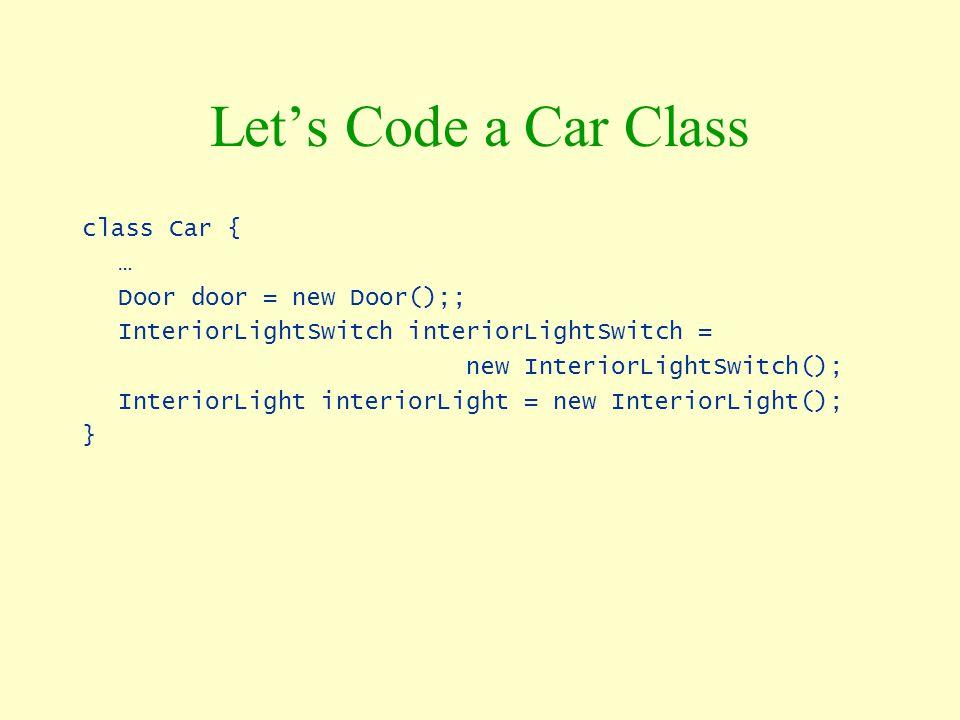 Let's Code a Car Class class Car { … Door door = new Door();; InteriorLightSwitch interiorLightSwitch = new InteriorLightSwitch(); InteriorLight inter