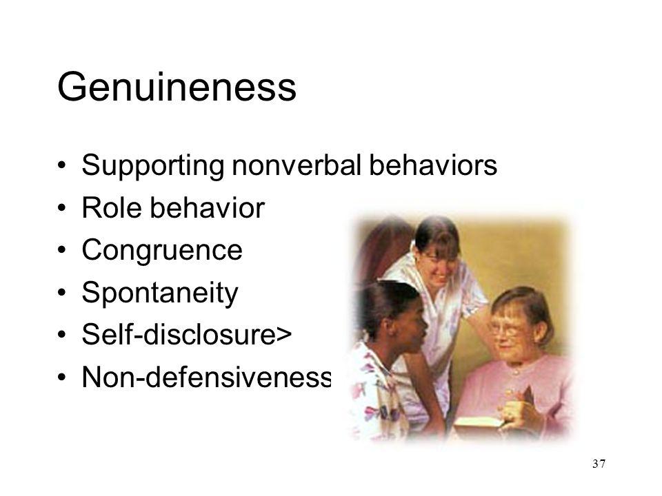 37 Genuineness Supporting nonverbal behaviors Role behavior Congruence Spontaneity Self-disclosure> Non-defensiveness>