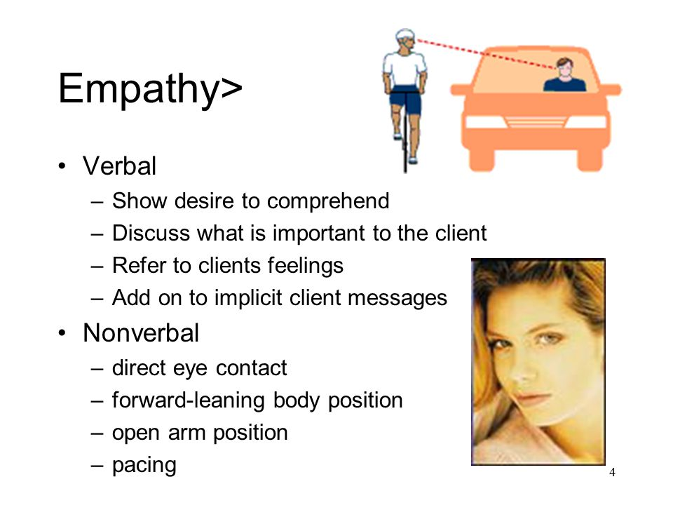 4 Empathy> Verbal –Show desire to comprehend –Discuss what is important to the client –Refer to clients feelings –Add on to implicit client messages N