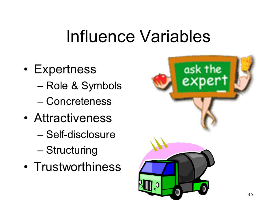 45 Influence Variables Expertness –Role & Symbols –Concreteness Attractiveness –Self-disclosure –Structuring Trustworthiness