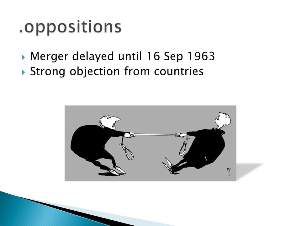  Merger delayed until 16 Sep 1963  Strong objection from countries