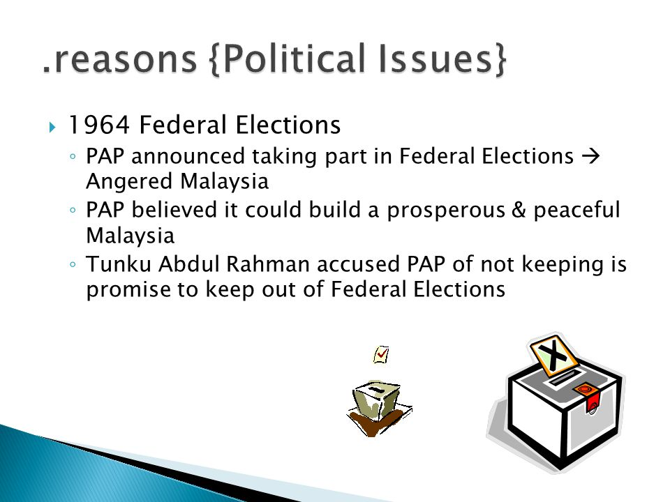  1964 Federal Elections ◦ PAP announced taking part in Federal Elections  Angered Malaysia ◦ PAP believed it could build a prosperous & peaceful Mal