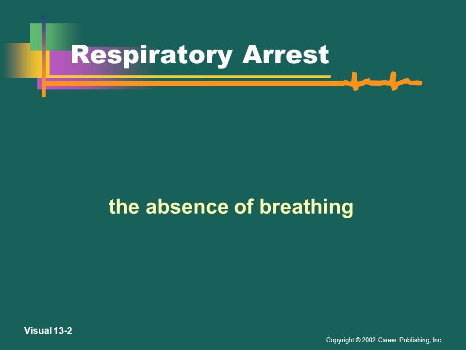 Copyright © 2002 Career Publishing, Inc. Visual 13-1 Cardiopulmonary Resuscitation a lifesaving procedure involving artificial ventilation and chest c