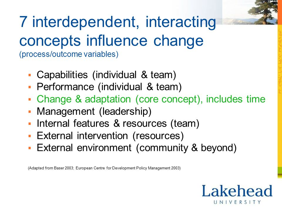 7 interdependent, interacting concepts influence change (process/outcome variables)  Capabilities (individual & team)  Performance (individual & tea