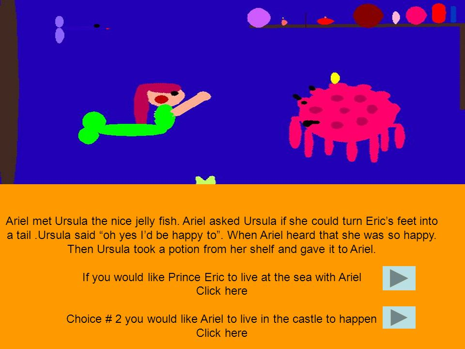 Ariel swam up to shore and found Prince Eric.She told Prince Eric to put drops one by one on him.