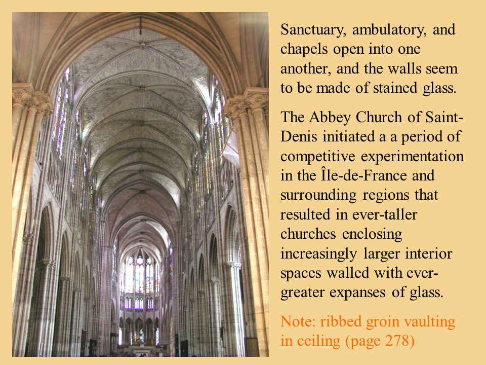 Sanctuary, ambulatory, and chapels open into one another, and the walls seem to be made of stained glass.